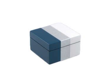 Caja Cuadrada de Laca Tricolor Azul