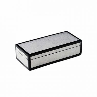 Caja Pencil de Laca Plata/Negro