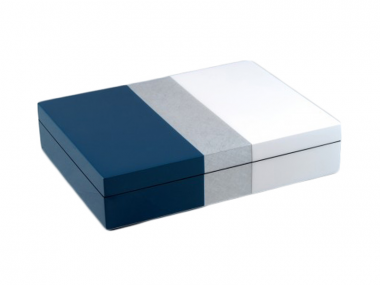Caja Stationary de Laca Tricolor Azul