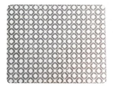 Set de 6 Individuales Lacados Geométrico Blanco y Negro