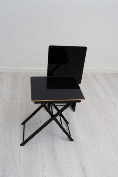 Set de 2 Mesas Plegables con stand Negras