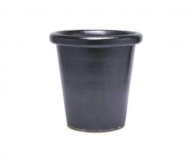 Lond Macetero Esmaltado Negro en diferentes tamaños